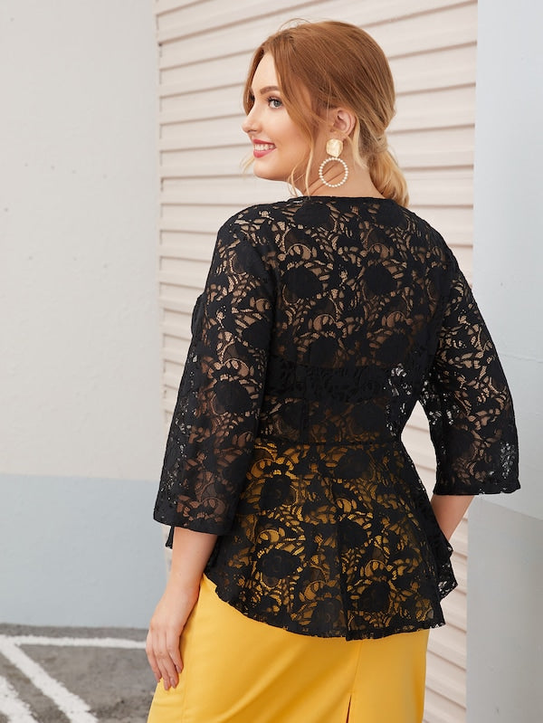 Plus Size Zip Up Sheer Lace Peplum Jacket