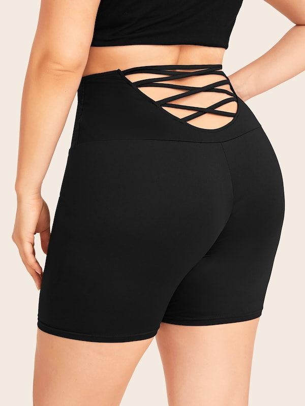 Plus Size Criss Cross Skinny Biker Shorts