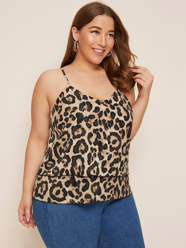 Plus Size Leopard Print Tiered Layer Cami Top