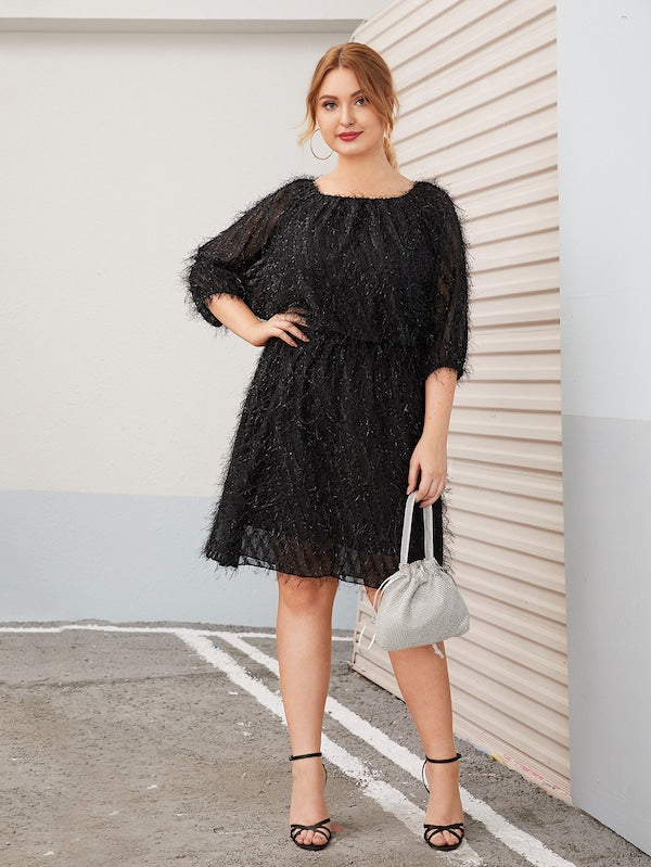 Plus Size Fringe Round Neck Midi Dress