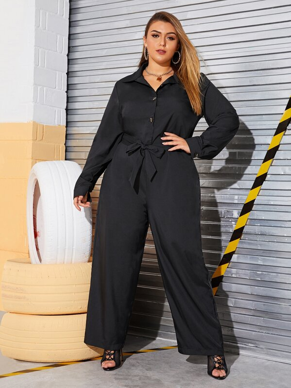 Plus Size Button Front Wide Leg Belted Jumpsuit