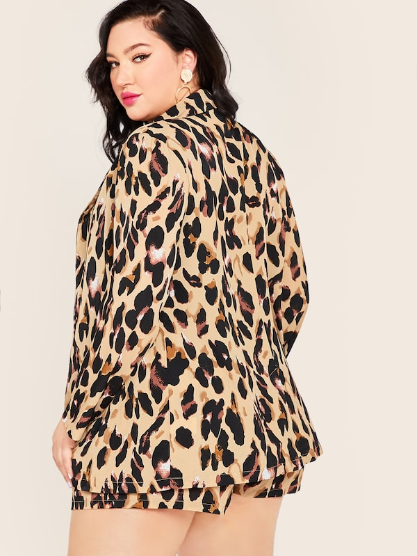 Plus Size Leopard Print Notch Collar Blazer & Belted Shorts Set