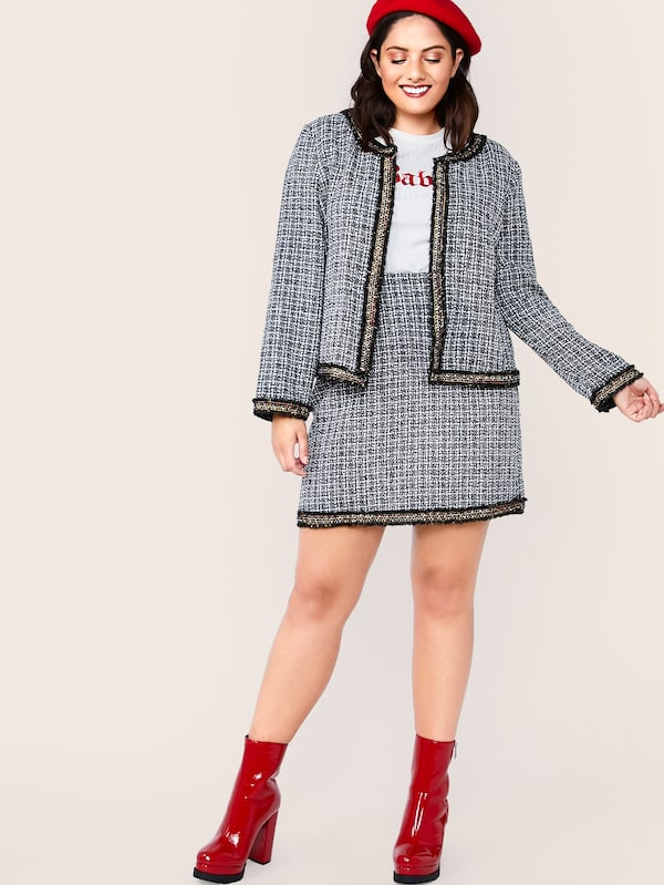 Plus Size Raw Hem Tweed Jacket & Skirts Set