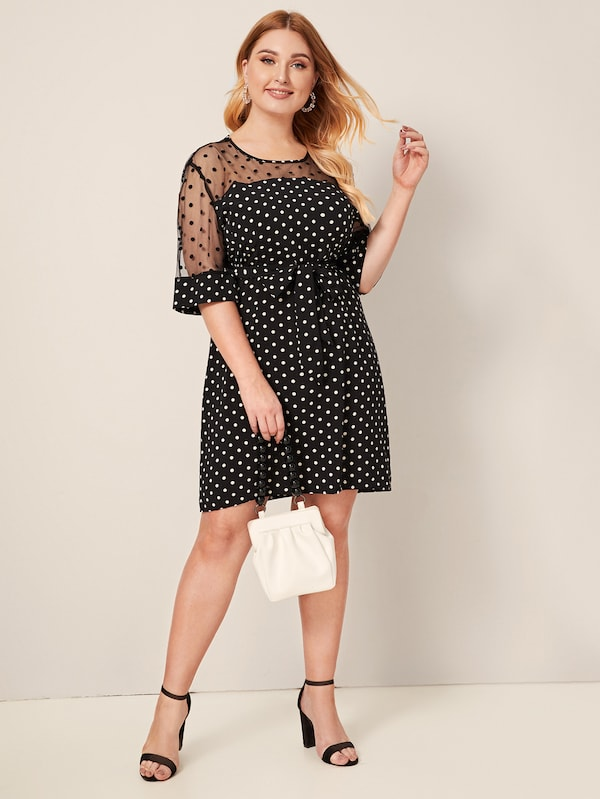 Plus Size Polka Dot Mesh Panel Belted Dress