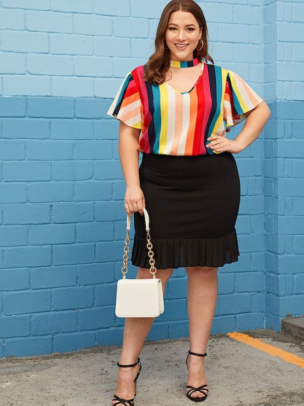 Plus Size Choker Neck Flutter Sleeve Colorful Striped Top
