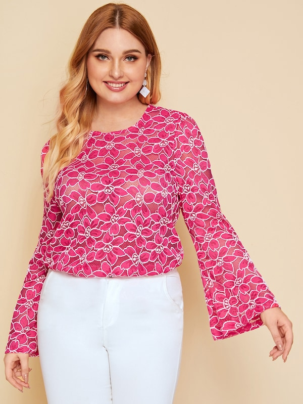 Plus Size Floral Keyhole Back Sheer Lace Top