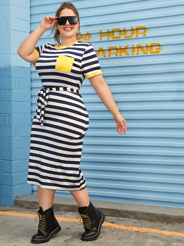 Plus Size Block Stripe Tie Waist Ringer Tee Dress
