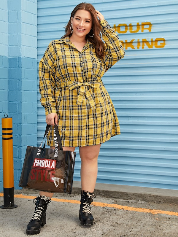 Plus Size Plaid Belted Shirt Dress