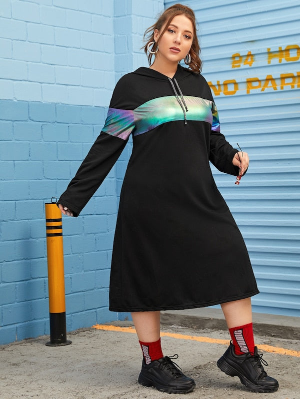 Plus Size Colorful Contrast Hooded Dress