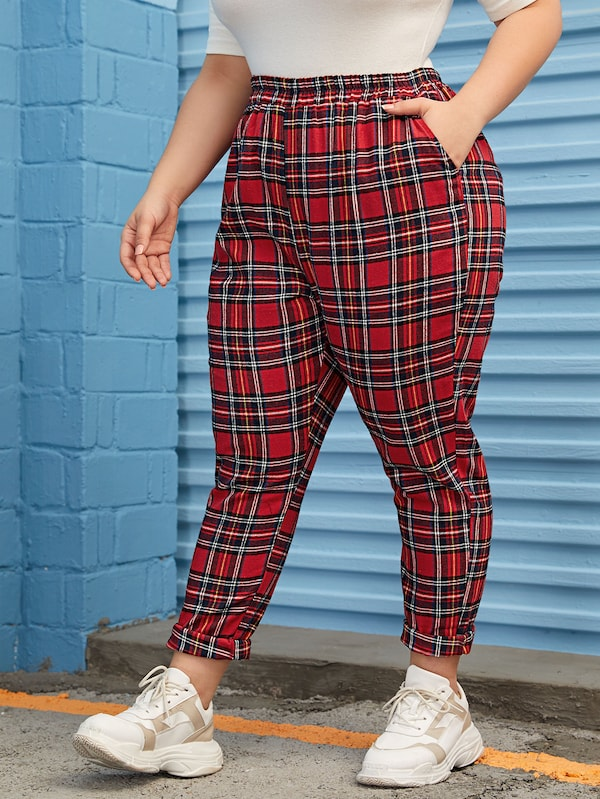 Plus Size Trendy Plaid Jogger Pants