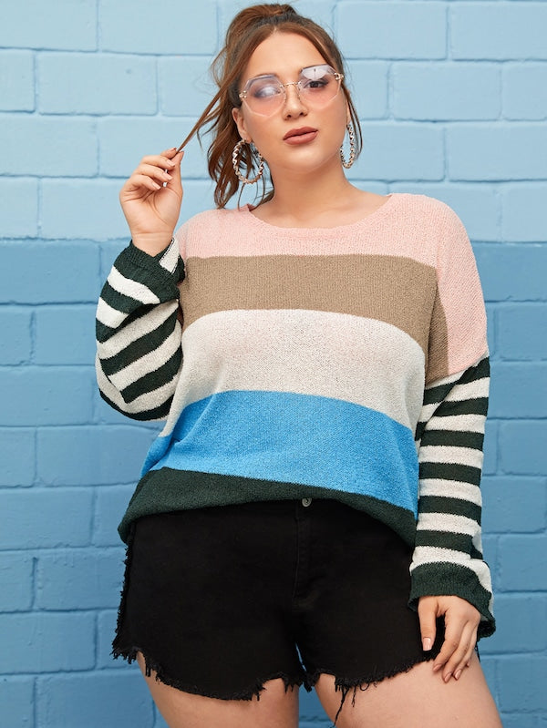 Plus Size Soft Knit Block Stripe Sweater