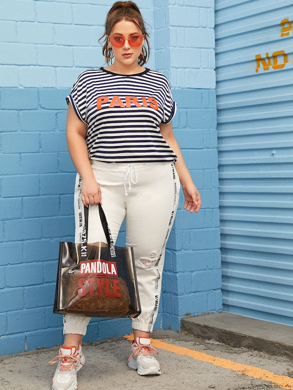 Plus Size Contrast Neck Roll Tab Sleeve Letter & Striped Top