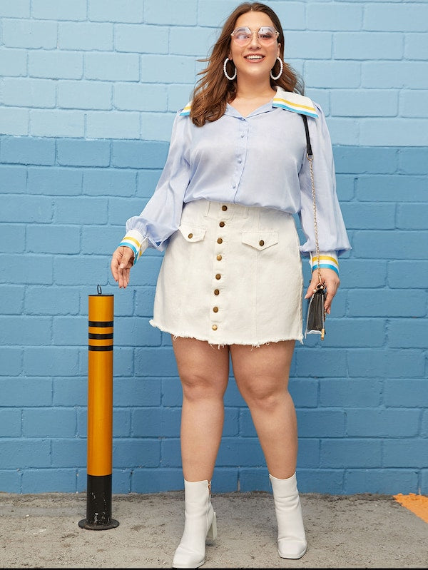 Plus Size Sailor Collar Lantern Sleeve Shirt