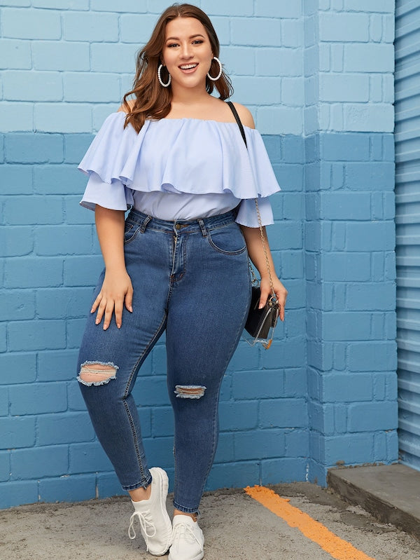 Plus Size Striped Ruffle Trim Off Shoulder Top