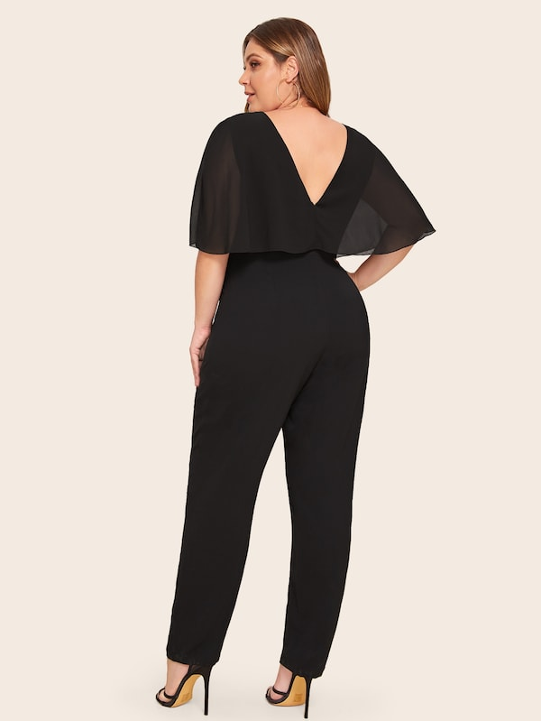 Plus Size Double V-Neck Chiffon Ruffle Trim Jumpsuit