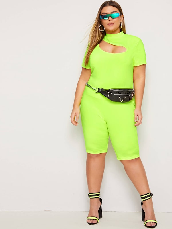 Plus Size Neon Lime Cut-Out Front Top & Shorts Set