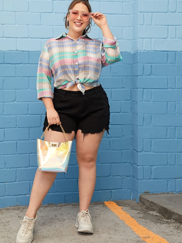 Plus Size Colorful Plaid Knot Tie Blouse