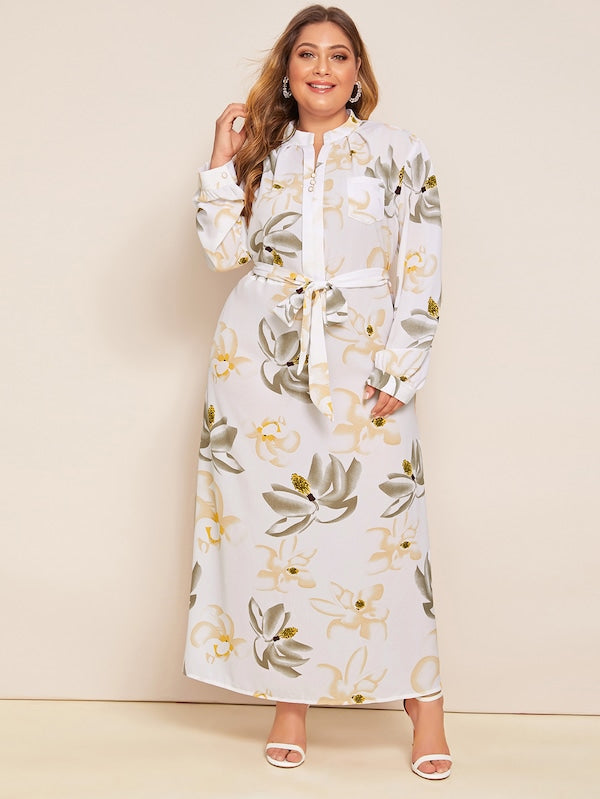 Plus Size Floral Notched Collar Belted Dress