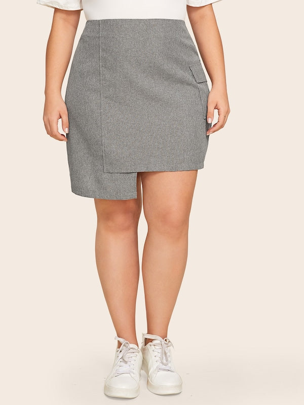 Plus Size Side Flap Pocket Asymmetrical Hem Marled Skirt
