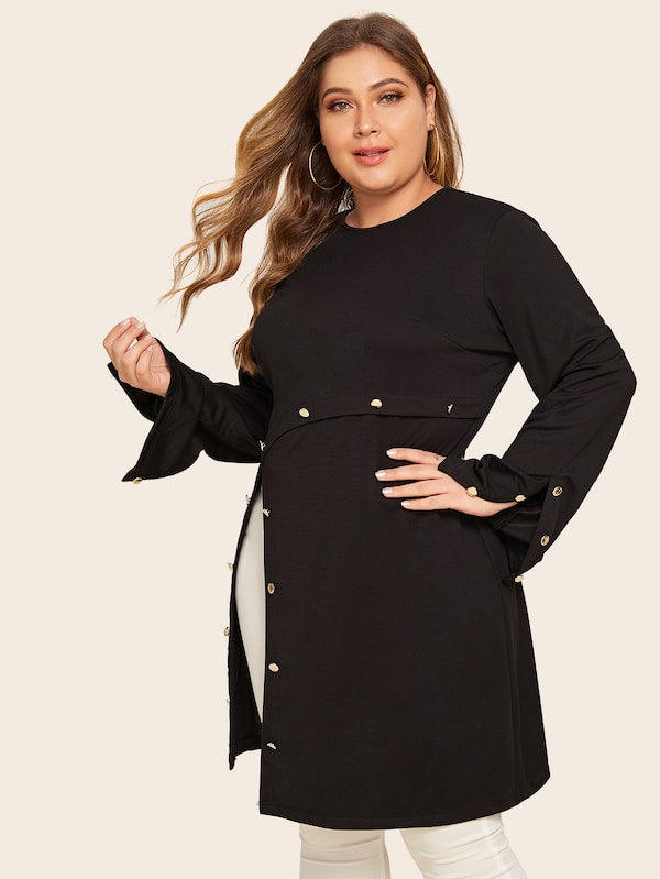 Plus Size Metal Button Slit Hem Longline Tee