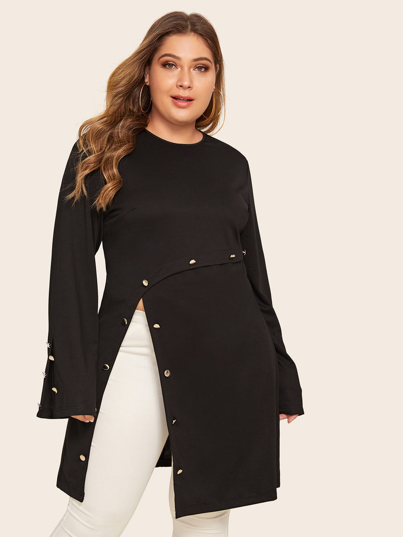 Plus Size Metal Button Slit Hem Longline Top
