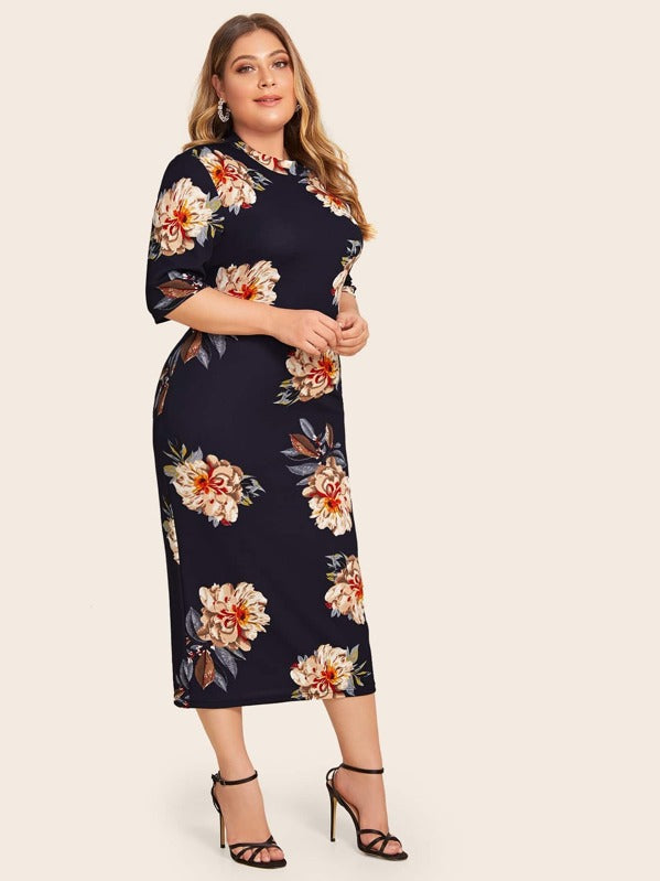 Plus Size Mock Neck Botanical Print Pencil Dress