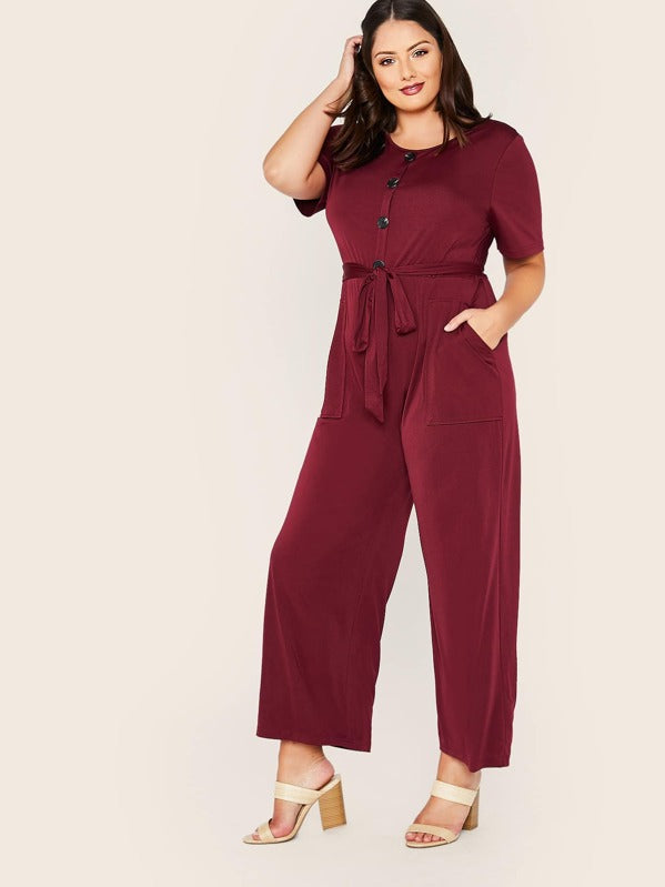 Plus Size Half Button Front Patch Pocket Belted Palazzo Jumpsuit