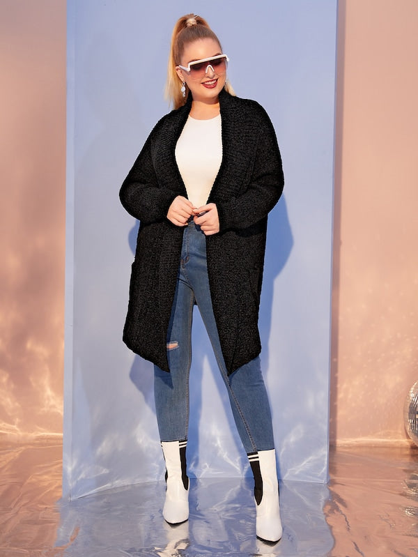 Plus Size Open Front Shawl Collar Cardigan