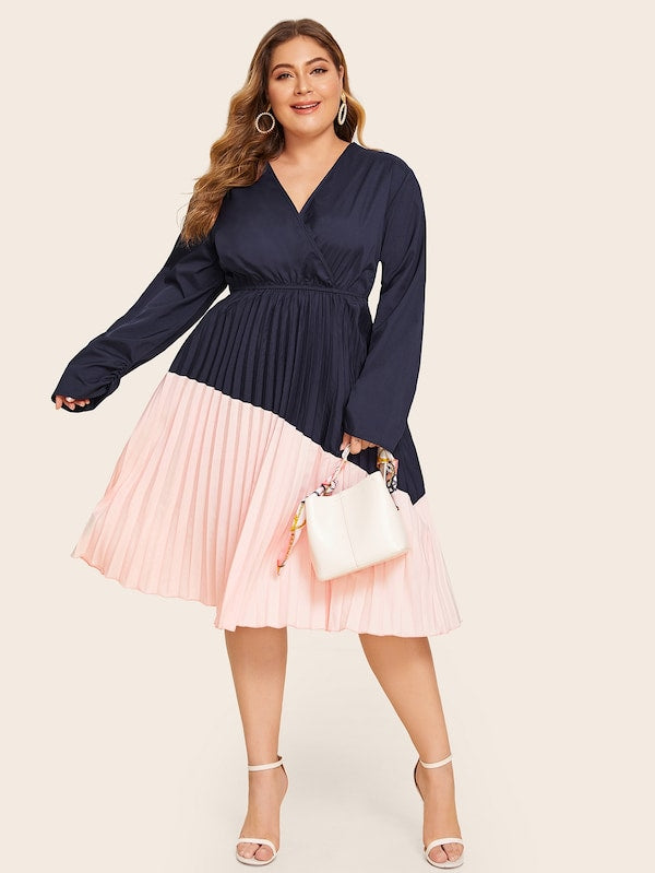 Plus Size Surplice Neck Cut And Sew Pleated Hem Dress
