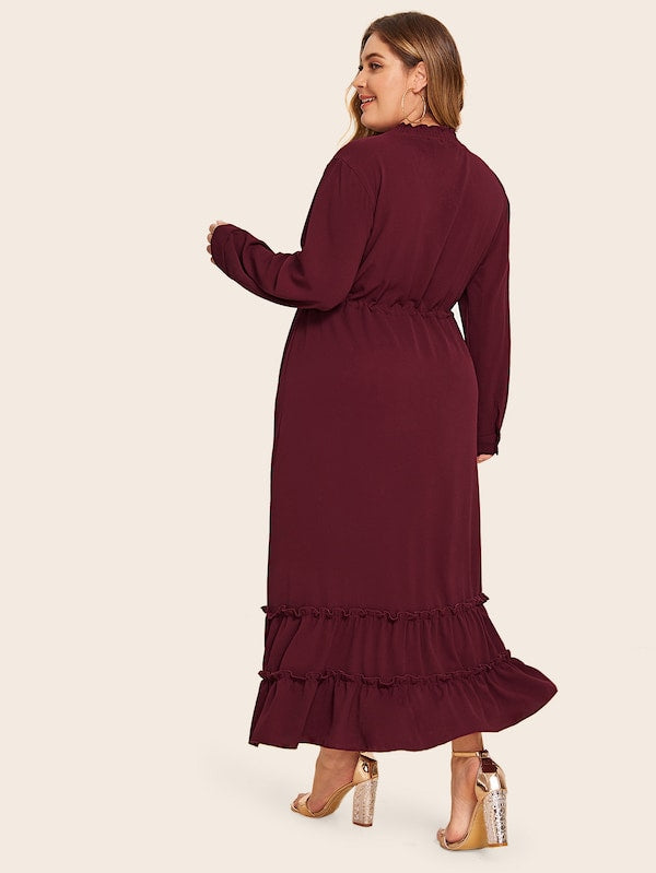 Plus Size Lettuce Frill Drawstring Waist Dress