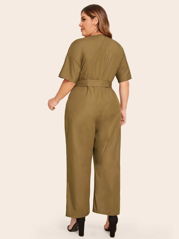 Plus Size Draped Collar O-Ring Belted Jumpsuit Without Bag