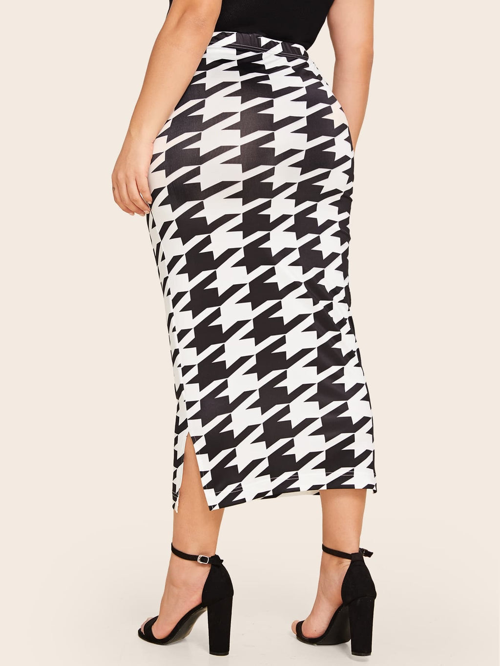 Plus Size Houndstooth Bodycon Pencil Skirt