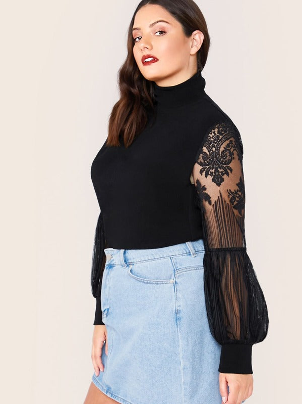 Plus Size Mock Neck Lace Lantern Sleeve Fitted Top