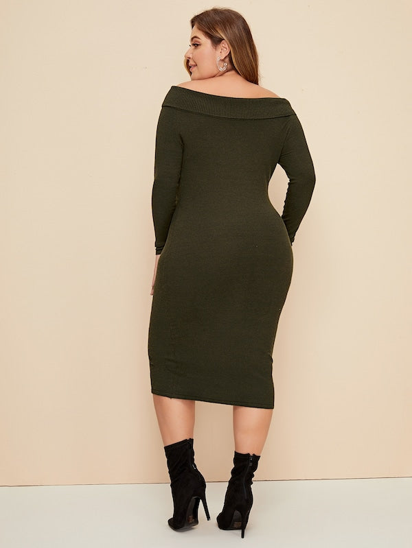 Plus Size Foldover Rib-Knit Sweater Dress Without Belt
