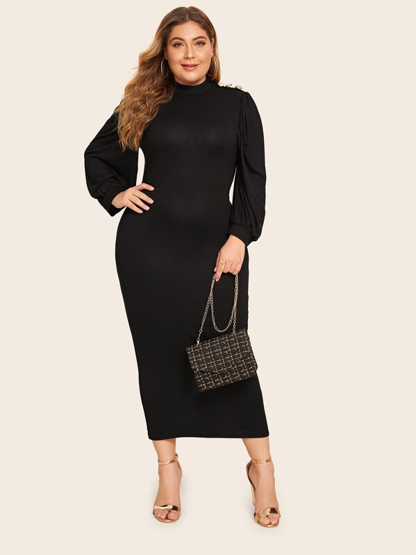 Plus Size Button Shoulder Slit Hem Pencil Dress