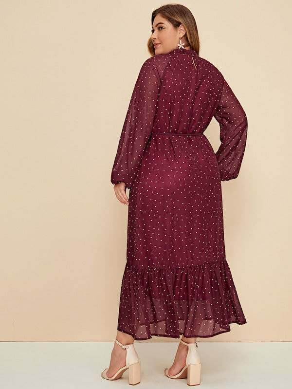 Plus Size Polka-Dot Frill Trim Flounce Hem Belted Dress