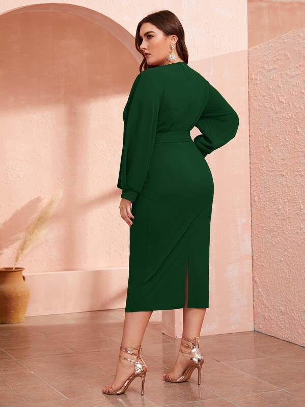Plus Size Surplice Neck Slit Hem Belted Dress