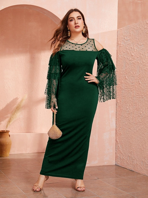Plus Size Cold Shoulder Dobby Mesh Yoke Layered Sleeve Dress