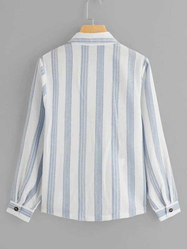 Plus Size Dual Pocket Front Striped Blouse