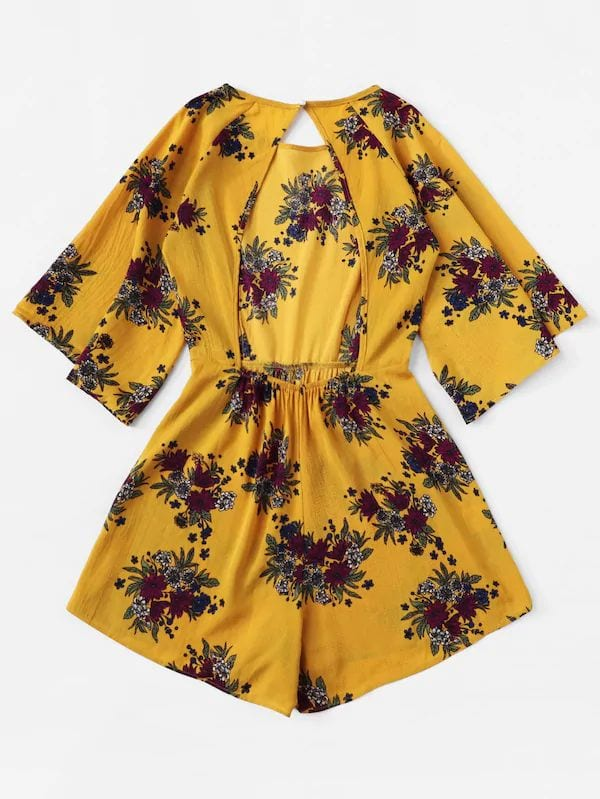 Plus Size Floral Print Backless Romper