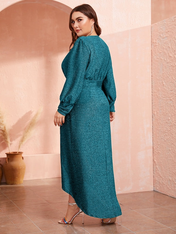 Plus Size High Waist Lantern Sleeve Wrap Hem Glitter Dress