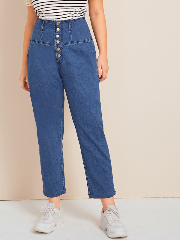 Plus Size Button Front High Waist Jeans