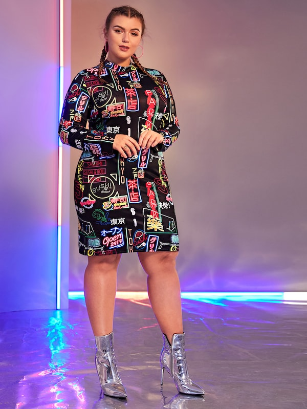 Plus Size Mock Neck Letter Print Dress