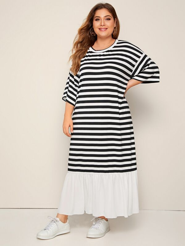 Plus Size Flippy Hem Striped Tee Dress