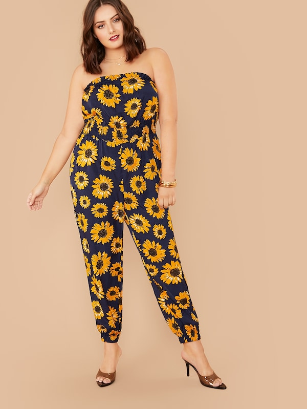 Plus Size Shirred Waist Sunflower Print Tube Jumpsuit