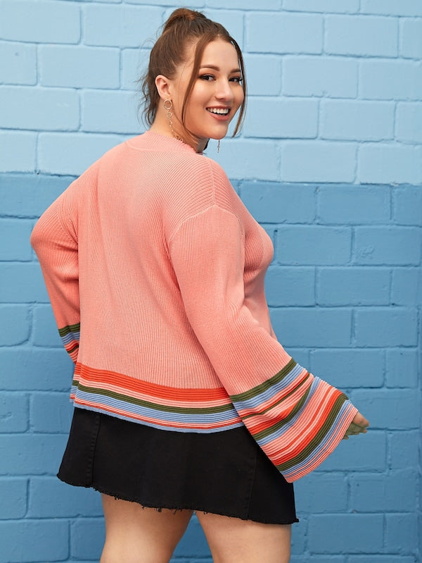 Plus Size Striped Print Flounce Sleeve Sweater