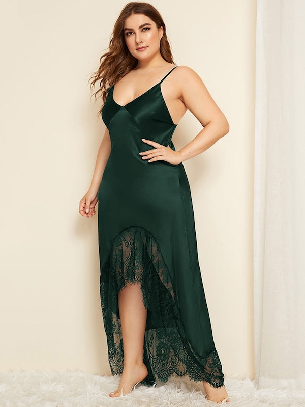 Plus Size Lace Trim Asymmetrical Hem Satin Night Dress