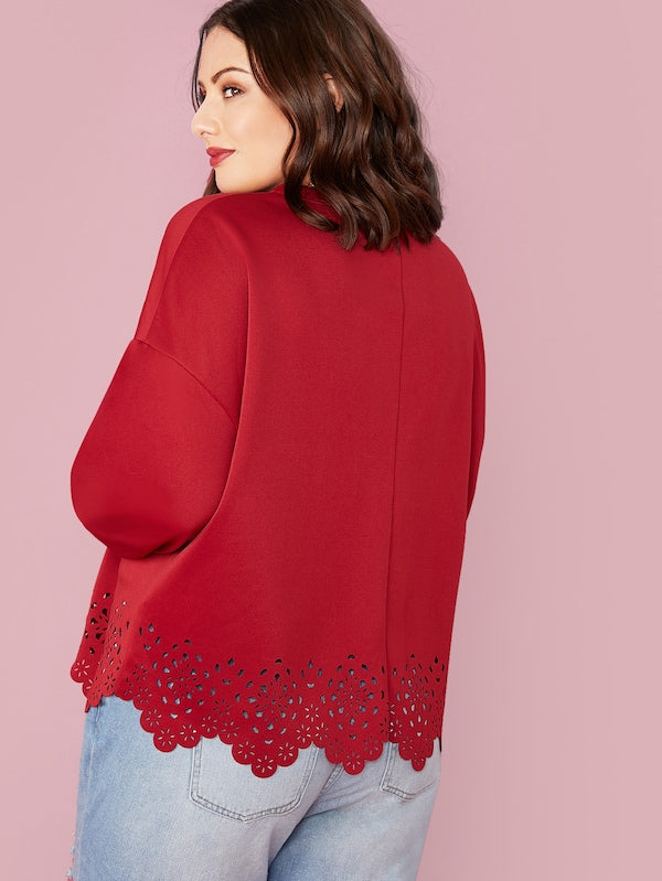 Plus Size Drop Shoulder Laser Cut Sweatshirt