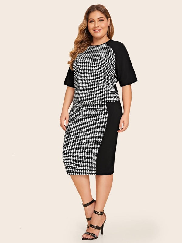 Plus Size Raglan Sleeve Houndstooth Top & Pencil Skirt Set