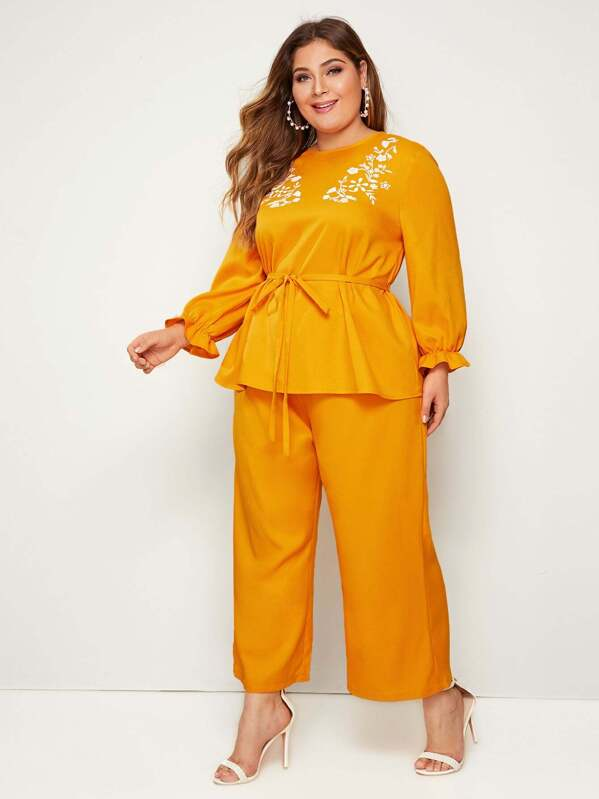 Plus Size Floral Print Belted Top & Palazzo Pants Set